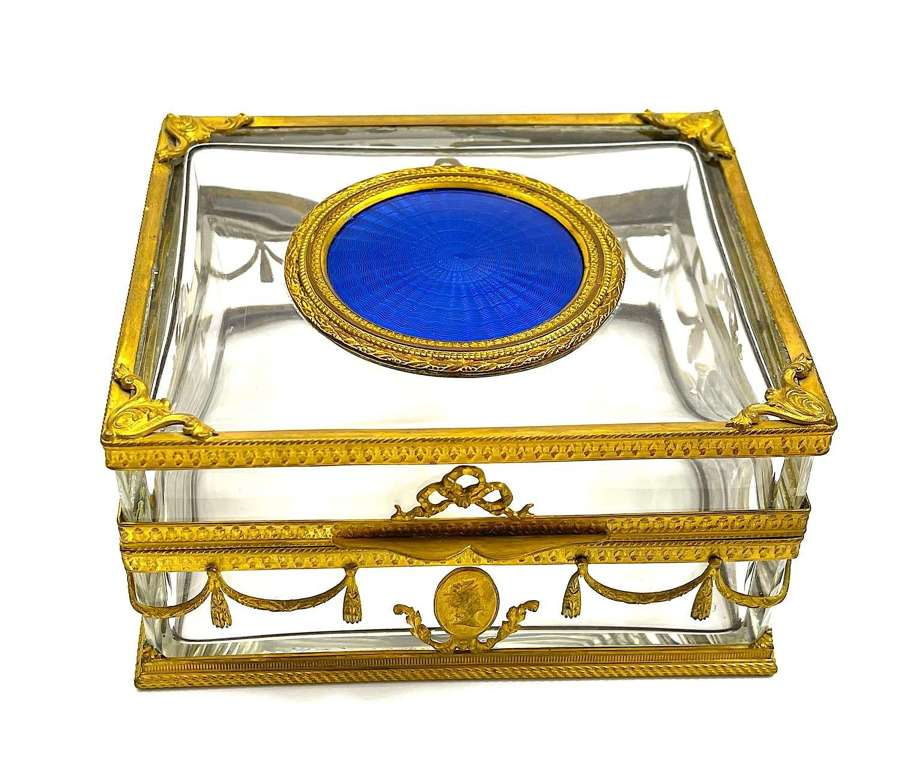 High Quality Antique French BlueGuillouche Enamel & Dore BronzeBox