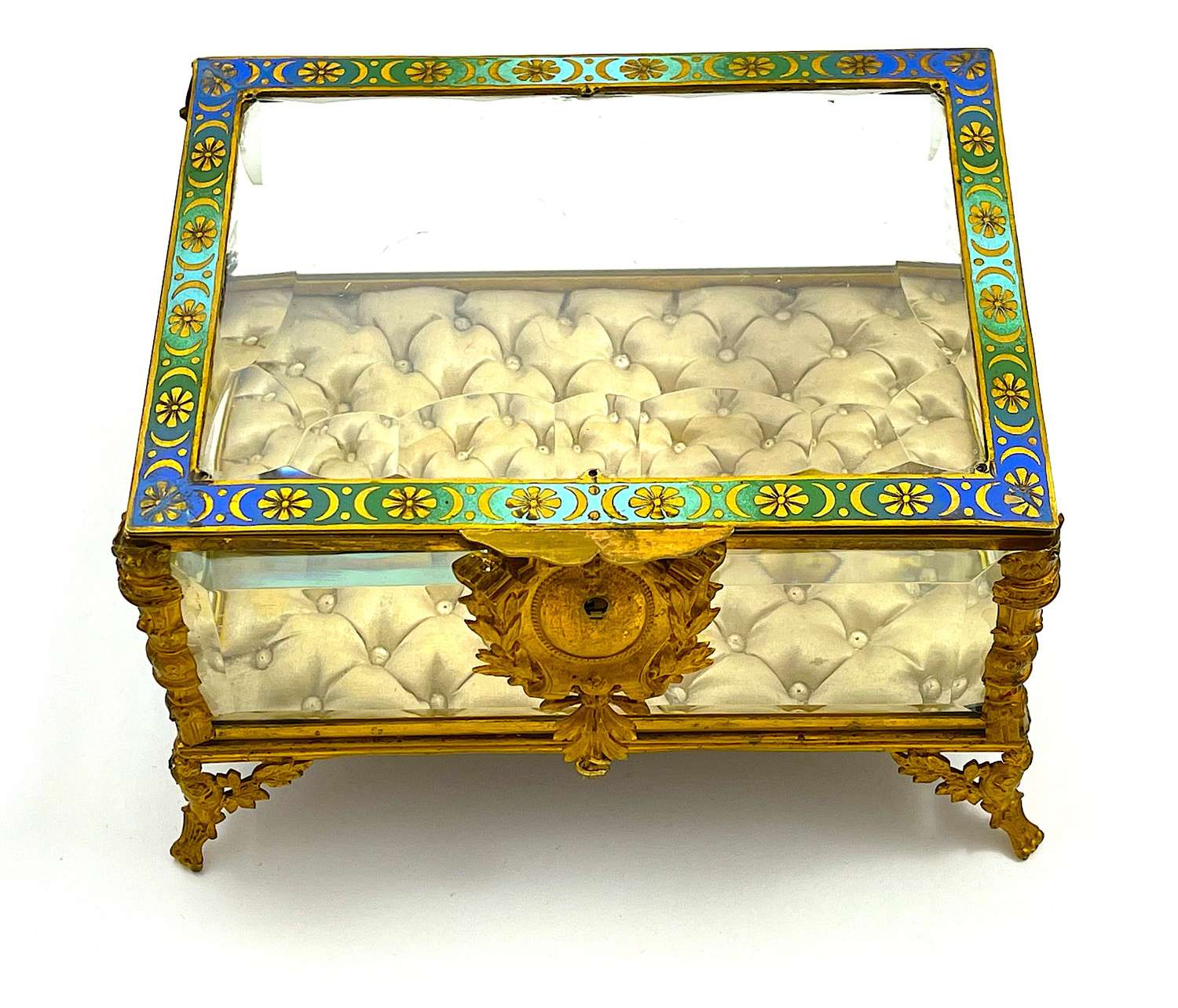 Large Antique French Jewellery Casket Box with ChamplevéEnamelling