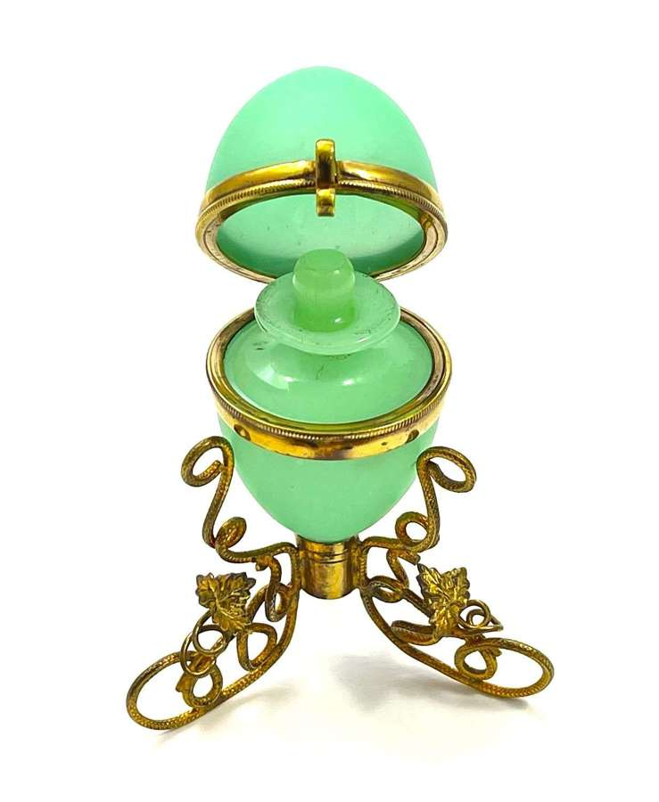 Antique French Palais Royal Opaline Glass Egg Shaped Perfume Casket