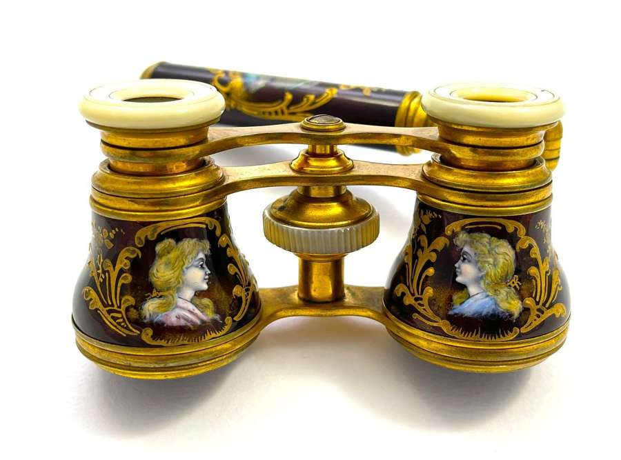 An Exceptional Pair of Antique French Enamel Opera Glasses