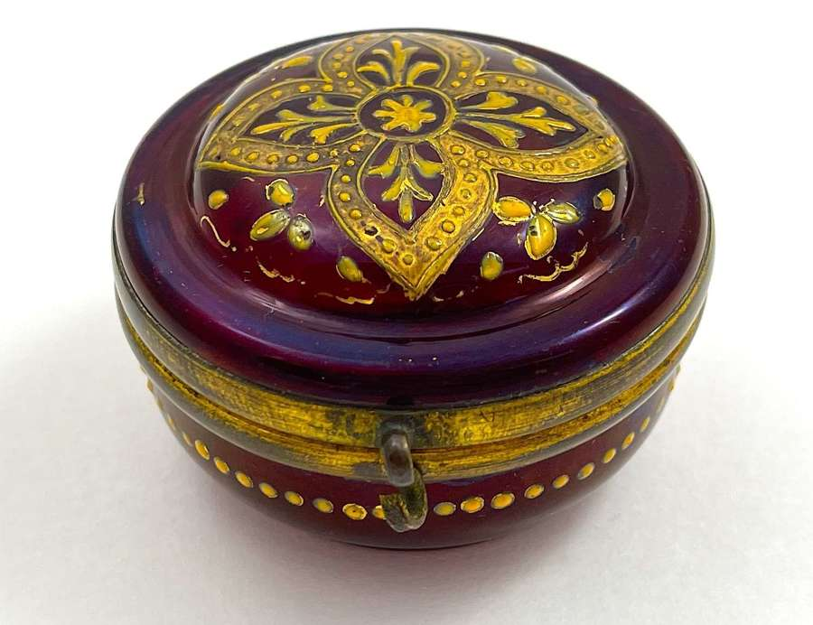 Antique MOSER Ruby Red Glass Miniature Pill Box