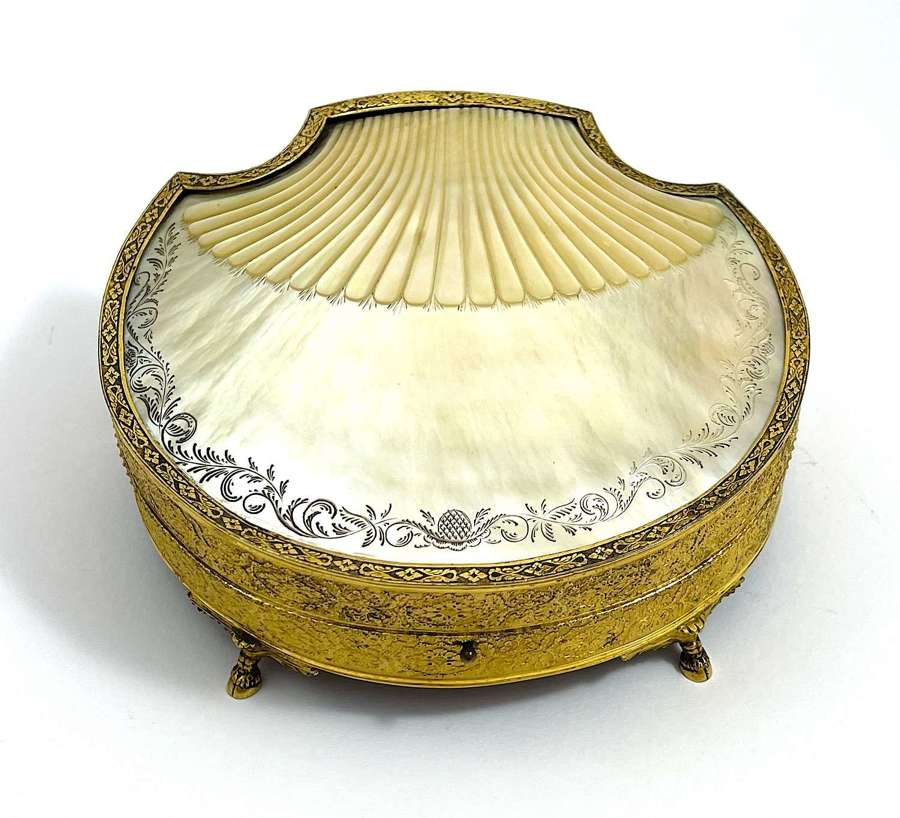 An Exceptional Palais Royal Shell Shaped Mother of Pearl Casket