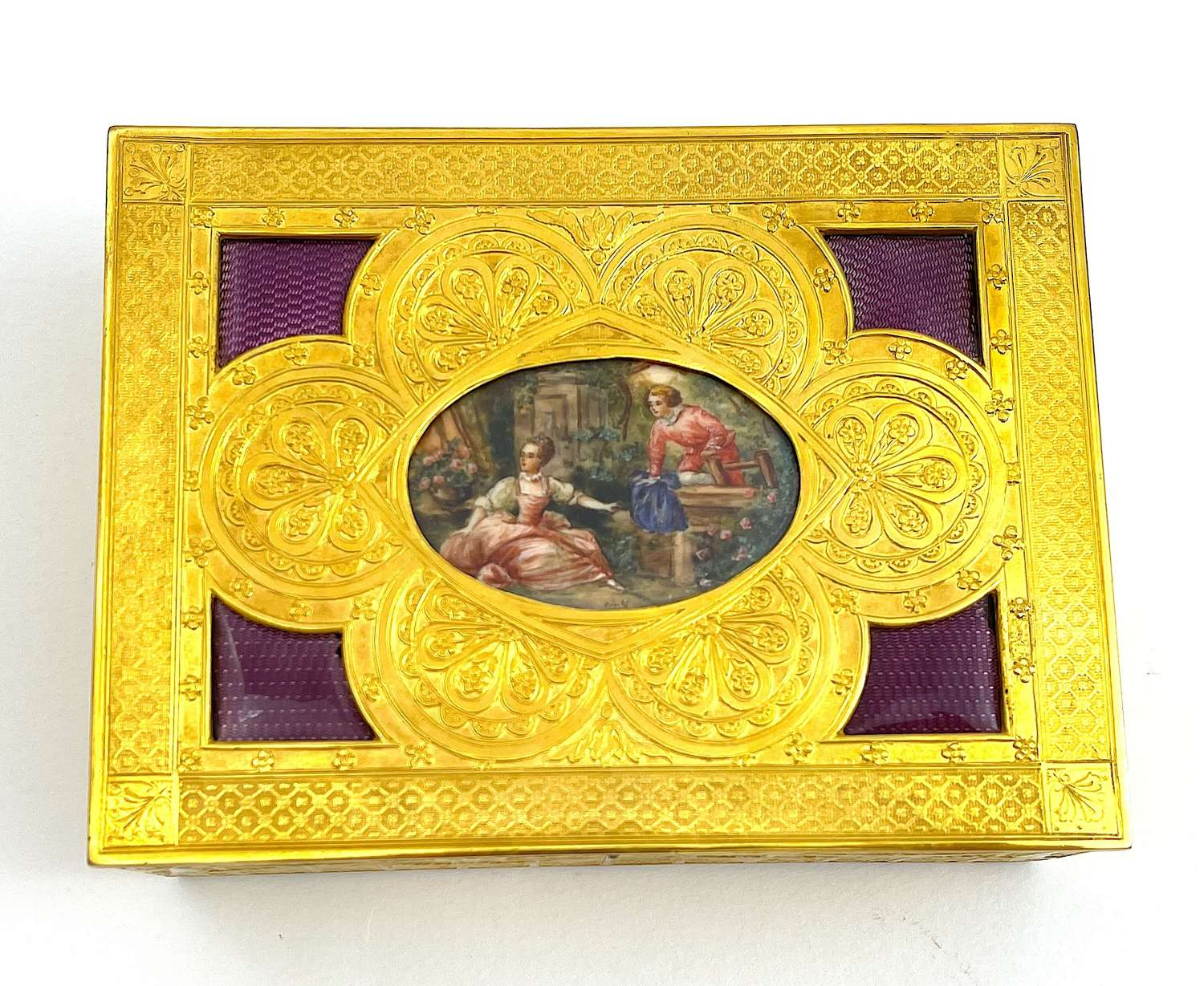 High Quality FrenchGuillouche Enamel and Dore BronzeJewellery Box