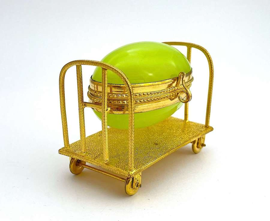 Antique Palais Royal Green Oplaine Egg with Trolley Cart