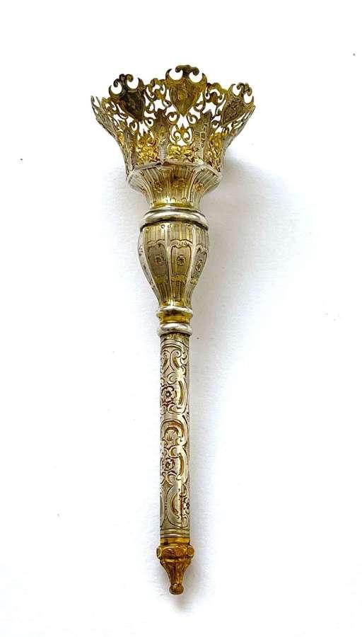 An Antique Beautifully Engraved SilverGiltVermeil Posy Holder.