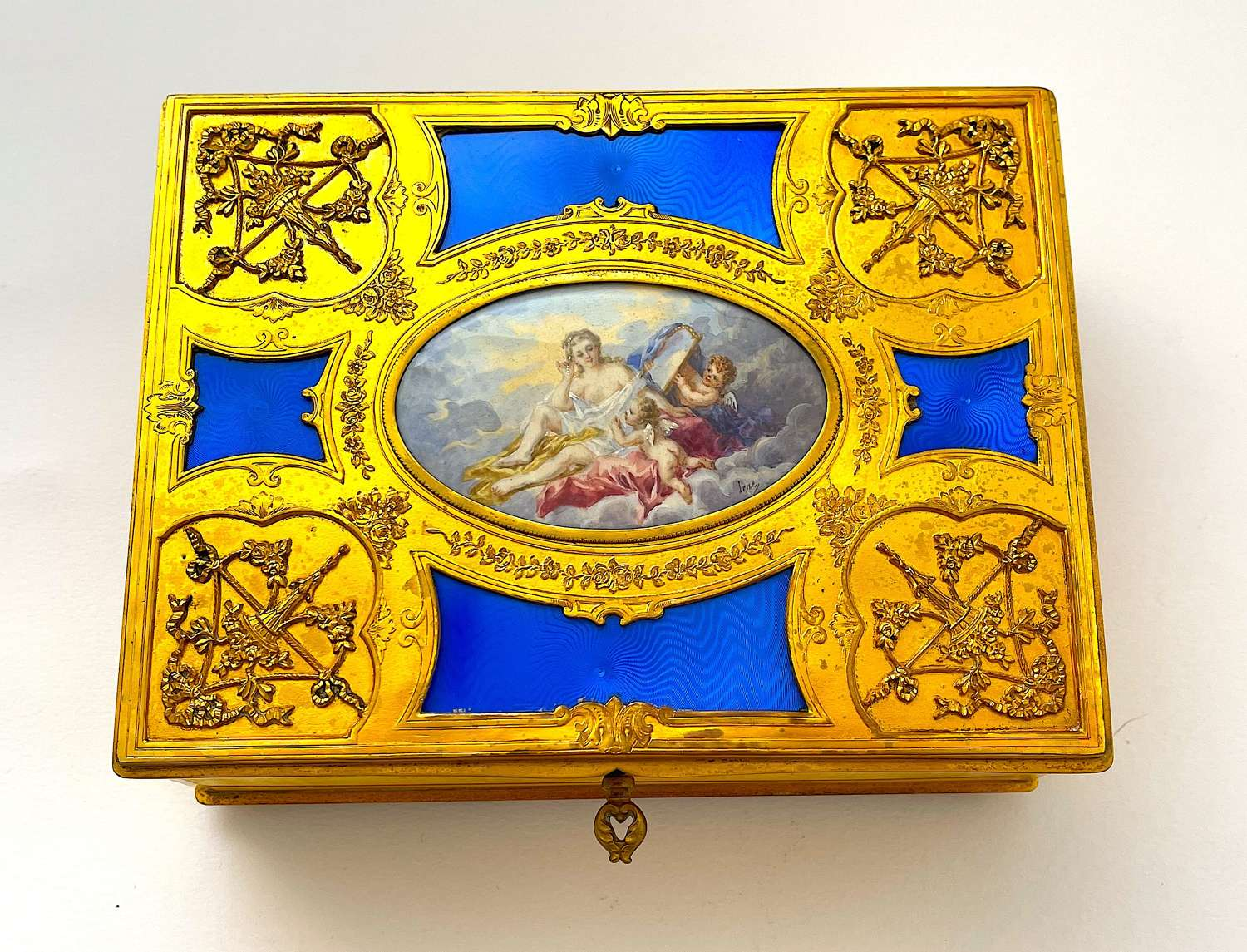 A Large High Quality French BlueGuillouche Enamel & Gilded BronzeBox