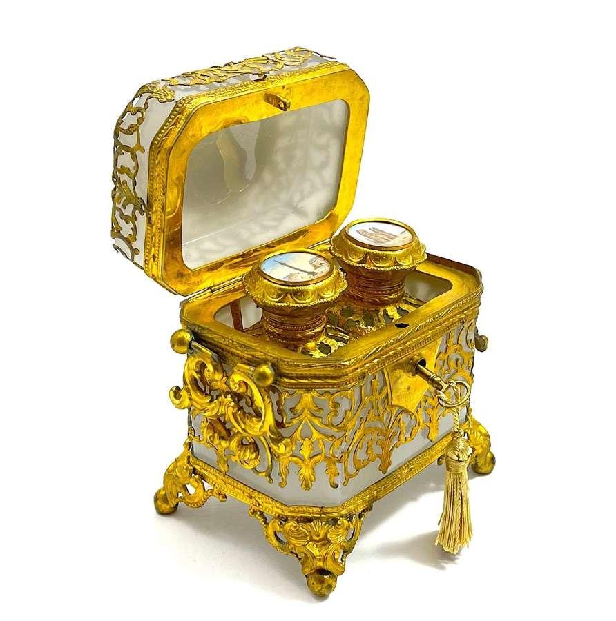 Stunning Antique French White Opaline Perfume Casket Box