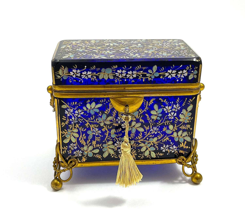 Large Antique MOSER Cobalt Blue Glass Casket Box with Enamel Flowers