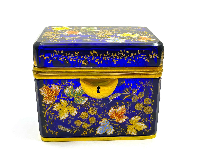 Antique MOSER Cobalt Blue Glass Casket Box Decorated with Oak Leaves