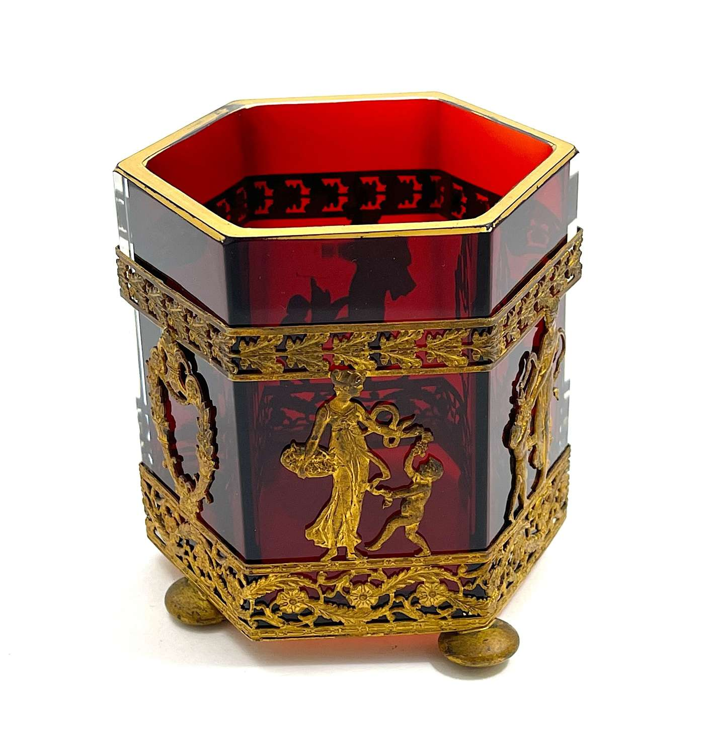 Unusual Antique Napoleon III Dore Bronze and Ruby Red Crystal Bowl