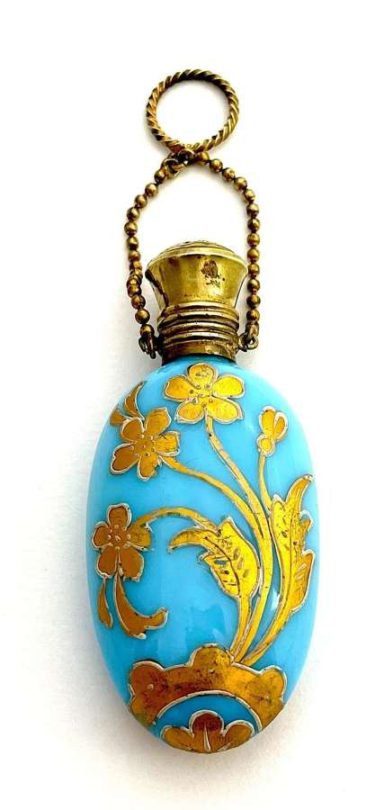 AntiqueFrench Blue Opaline Glass Perfume Bottle with Chatelaine