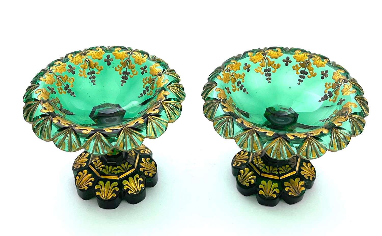 Pair of Antique Bohemian Emerald Green Enamelled Dishes