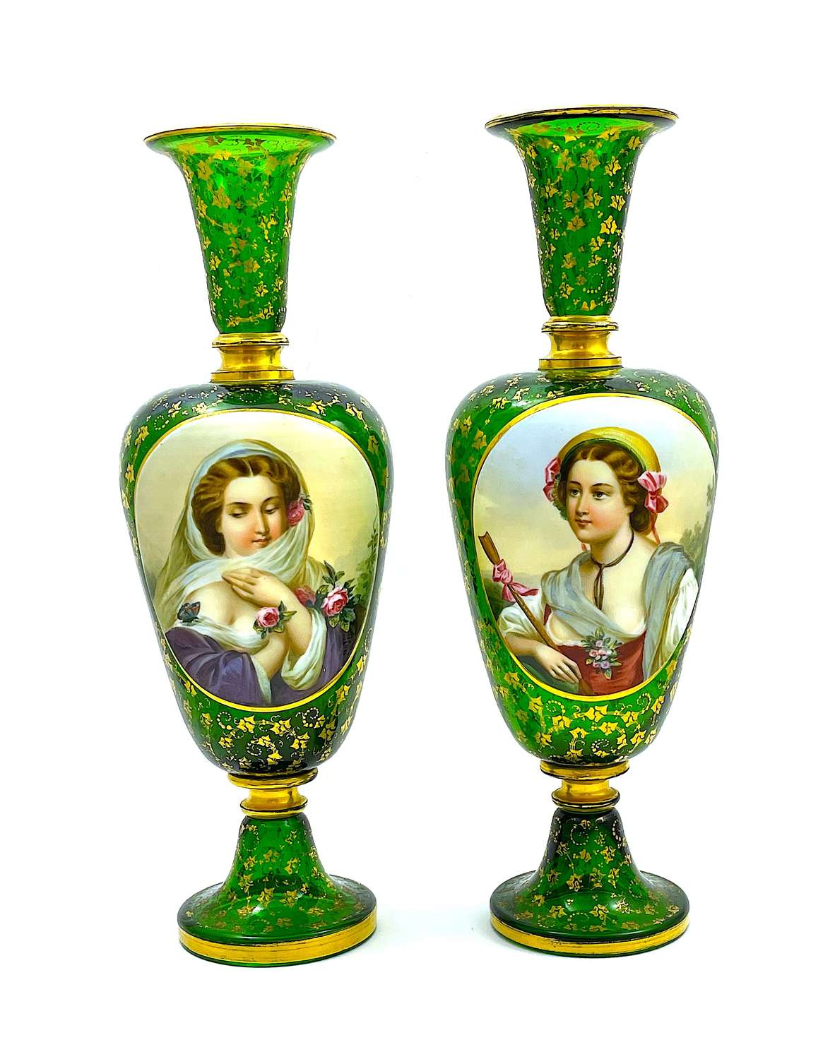 A Large Pair of High Quality AntiqueOverlay Portrait Vases