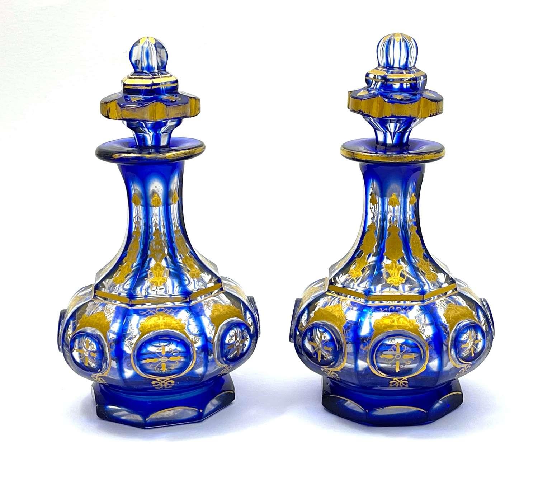 A Pair of AntiqueFine QualityBohemian BlueEnamelled Perfume Bottles