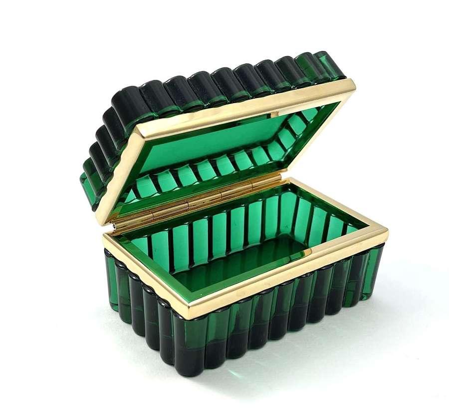 Antique Murano Emerald Green Glass Rectangular Casket Box