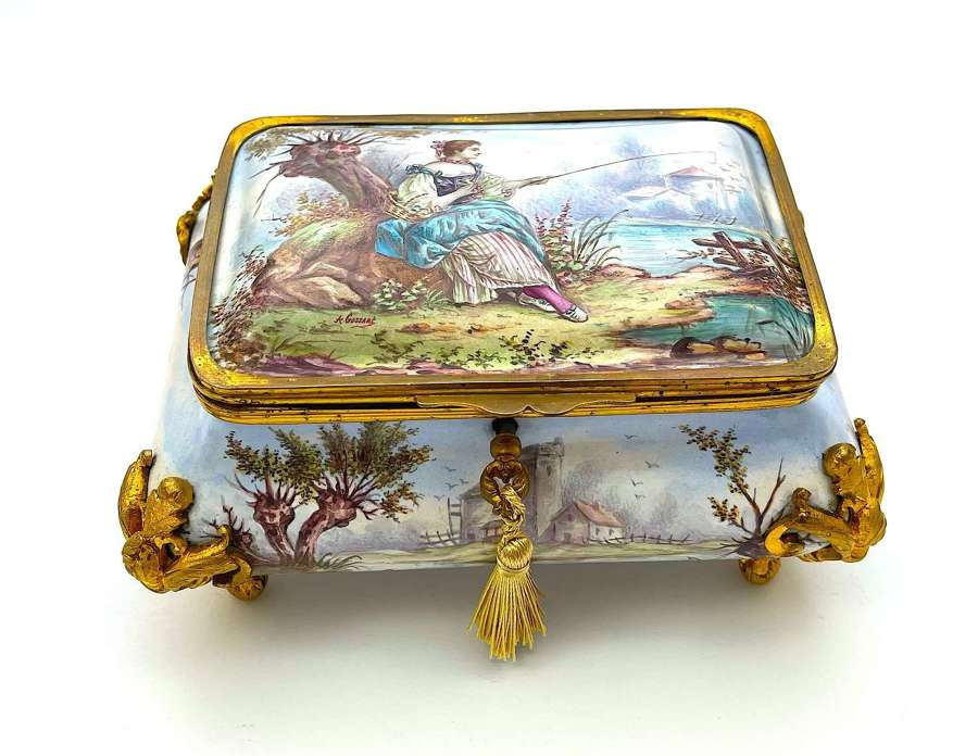 Exquisite Large Antique Signed French EnamelBombe Shaped Casket
