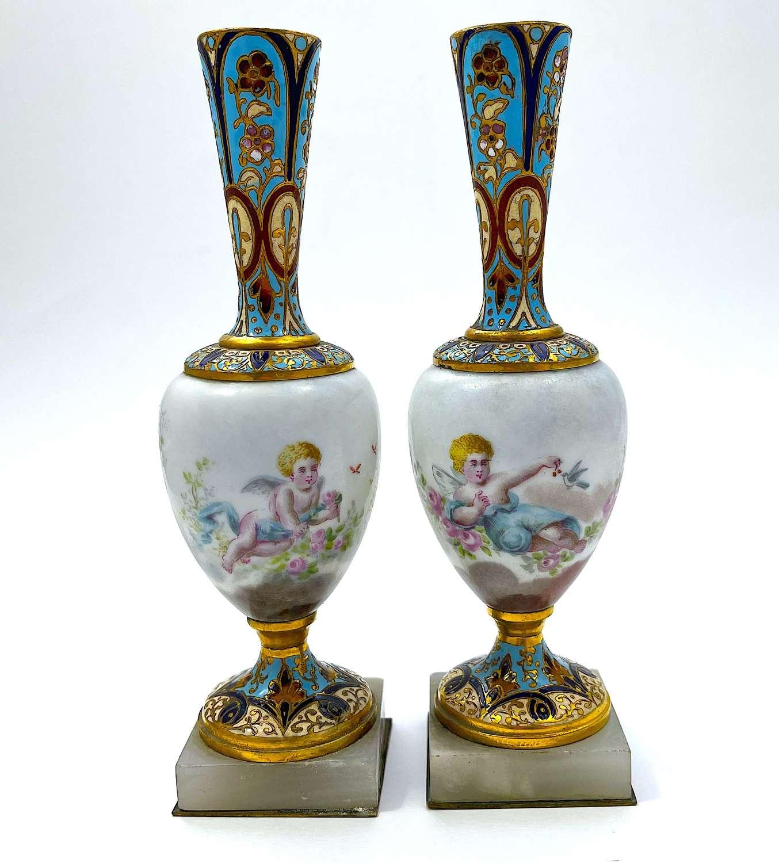 A Pair ofAntique FrenchChamplevé Candlesticks