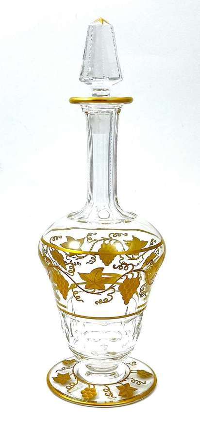 Tall Antique Signed Val St Lambert Gilded Decanter and Stopper.