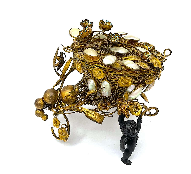 Unusual LargeAntique Palais Royal Dore Bronze Cornucopia Shaped Box