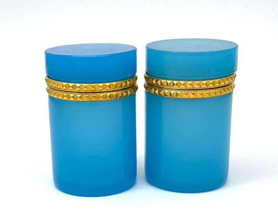 Pair of Antique Blue OpalineGlass Cylindrical Caskets Boxes