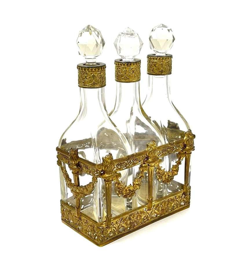 HUGENapoleon III Triple Perfume Bottle Set with Dore Bronze Garlands