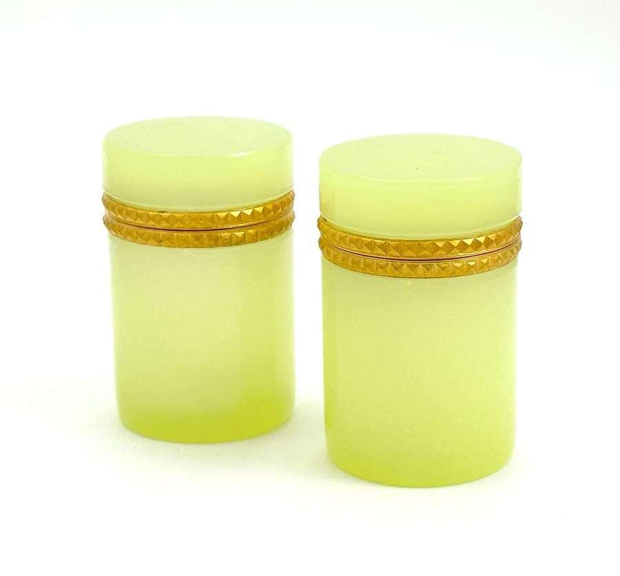 Pair of Antique YellowOpalineGlass Cylindrical Caskets