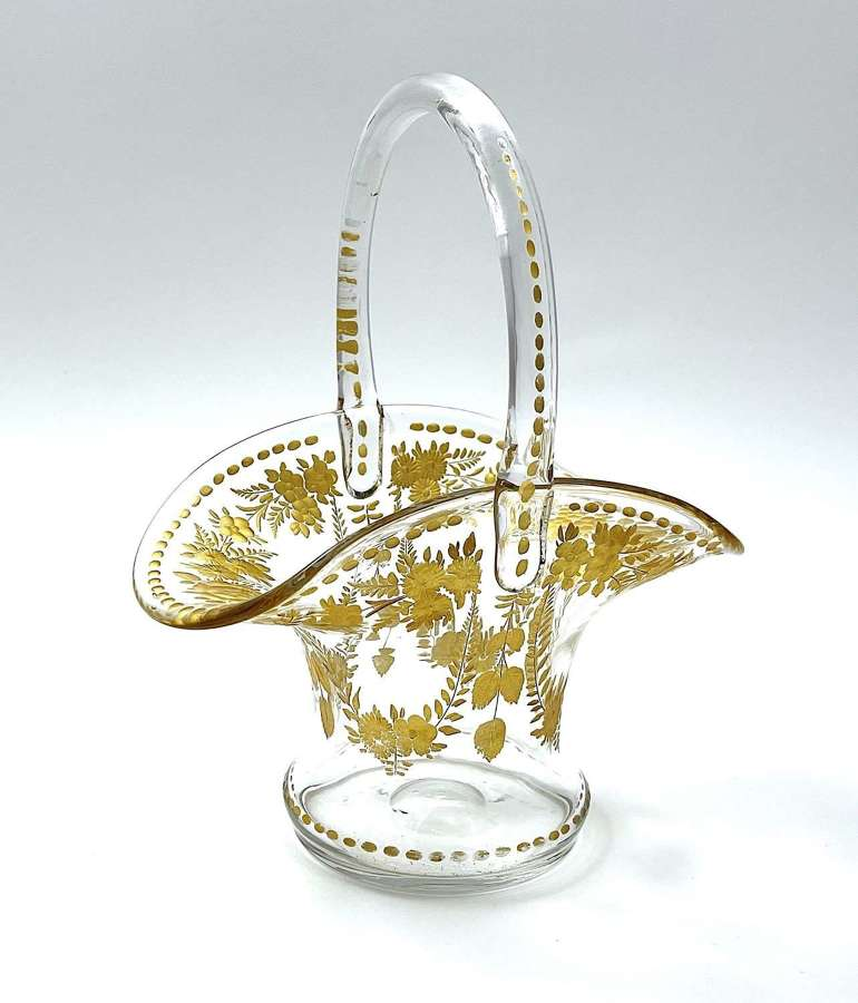 Antique St LouisGilded Glass BonBon Basket.