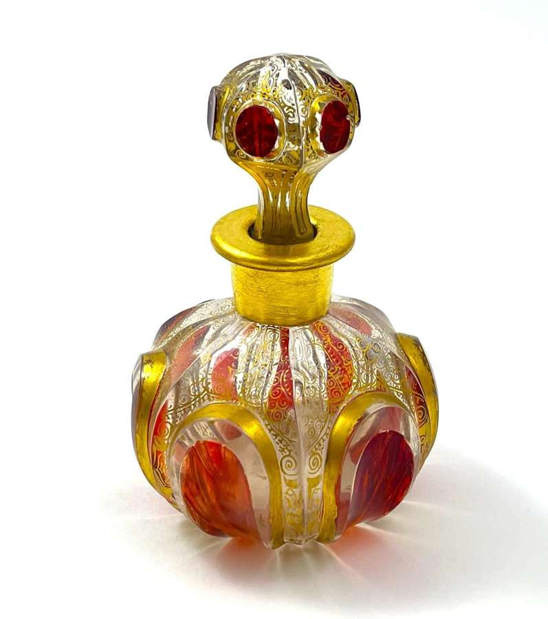 Antique MOSERRed Cut to Clear Perfume Bottlewith Ruby Cabochons.